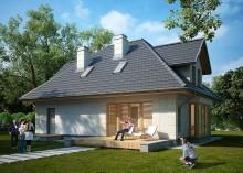 Проект дома LK&1035 с мансардой и гаражом