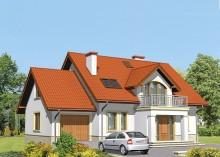 Проект дома LK&493 с мансардой и гаражом