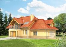 Проект дома LK&575 с мансардой и гаражом на 2 автомобиля
