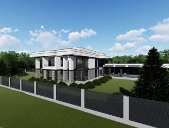 Проект двухэтажного коттеджа в стиле модерн с крытым бассейном для заказчика из г. Киев