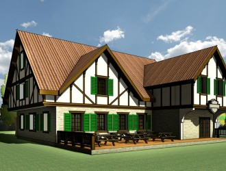 Разработка архитектурно-строительной концепции паба в стиле фахверк для коттеджного поселка в Подмосковье