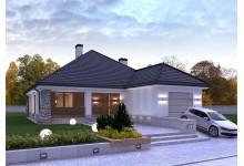 Проект LK&877 одноэтажного дома с гаражом для 1 авто