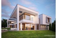 Проект LK&1095 двухэтажного дома с плоской крышей