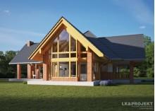 Проект LK&1290 мансардного дома с гаражным поднавесом