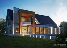 Проект LK&1284 мансардного дома с гаражом на 3 авто